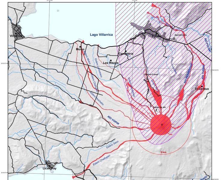 Mapa riesgo volcánico Volcán Villarrica proceso eruptivo post 03/03/2015