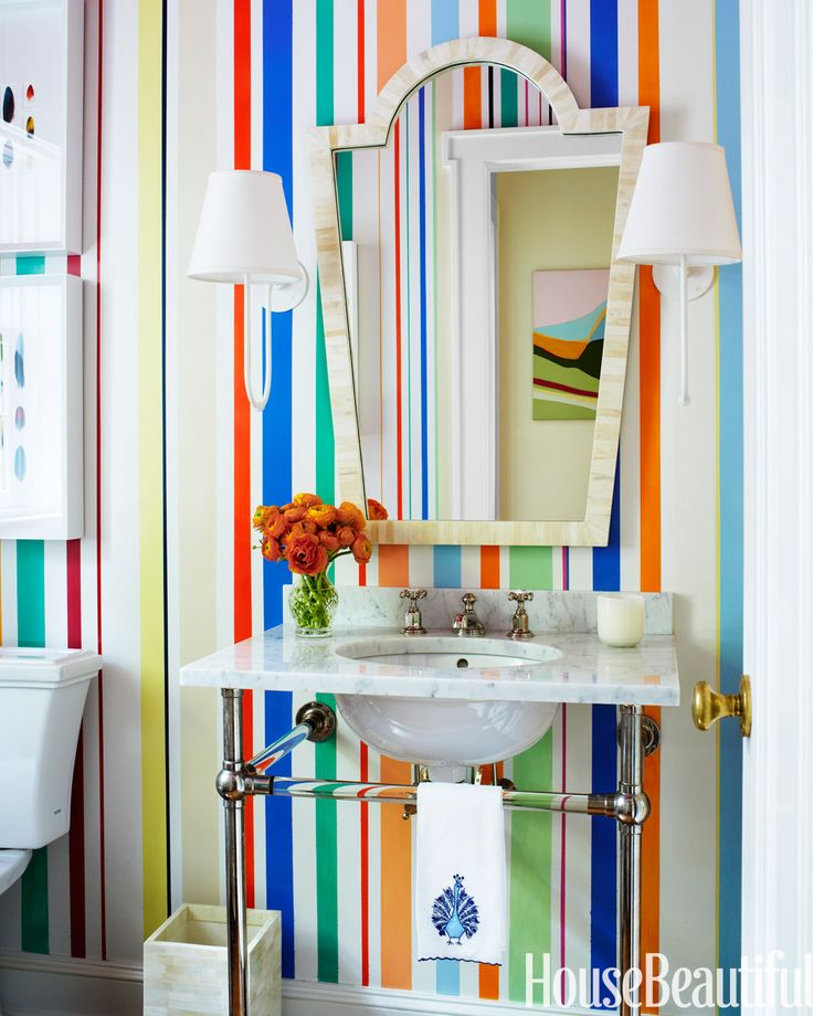 Bathroom with bright coloured stripes