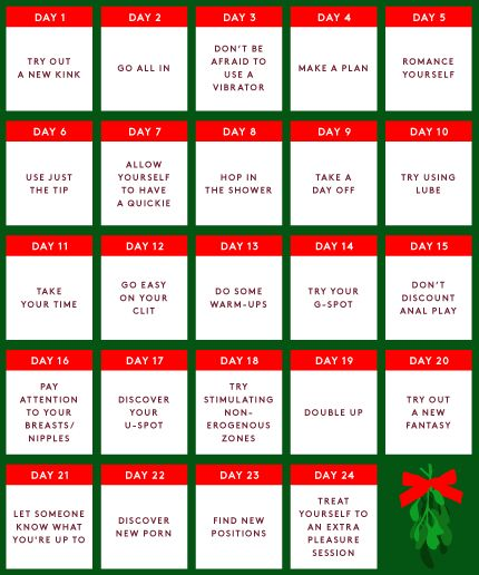 Save this calendar and print out a copy. This will be your guide for the next 24 days. #refinery29 http://www.refinery29.com/2016/12/131519/female-masturbation-techniques#slide-1