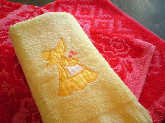Vintage Yellow Hand Towels  Set of  2  Found by KatFinds on Etsy. Retro Holly Hobbie Style For Your Bathroom.