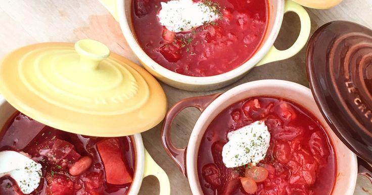 牛肉なしでも、ビーツさえあればボルシチ風の美味しいスープが簡単にできてしまいます♡