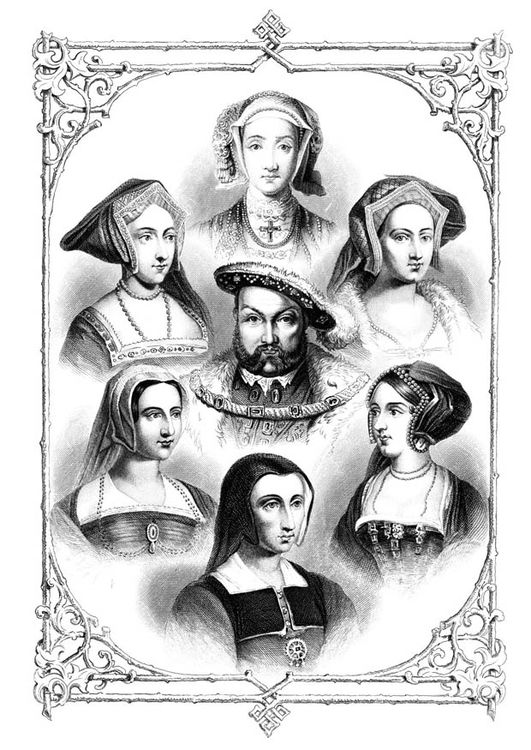 Dibujo para colorear Enrique VIII con sus 6 mujeres