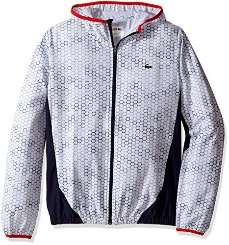 Lacoste Men's Tennis Stretch Taffeta Printed Jacket, White/Navy Blue/Corrida, 54 -- Check out this great product.