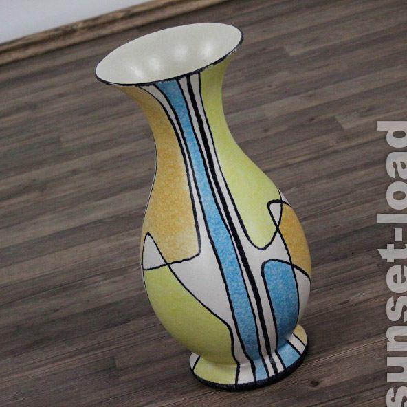 alte 50er Jahre Bay Keramik Vase Form 534 - 38 cm Dekor Milano Florenz ....