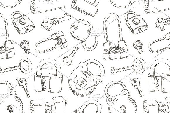 Locks and Keys pattern by Netkoff on @creativemarket
