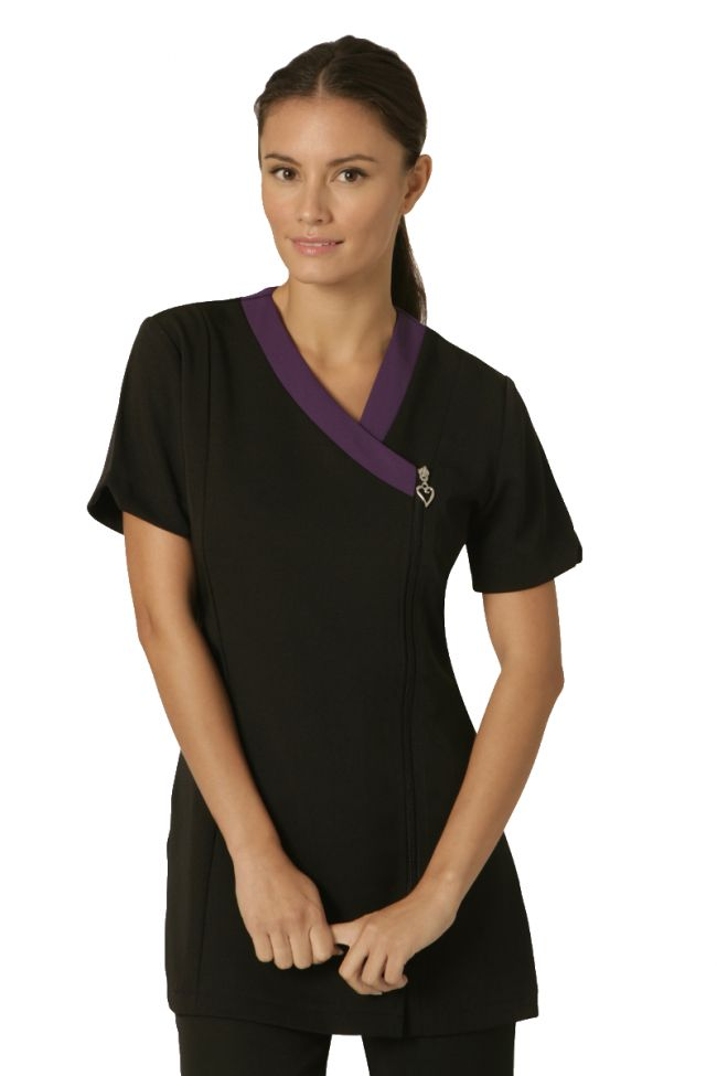 Salonwear ribbon beauty tunic with contrast neck trim and for Spa uniform tops