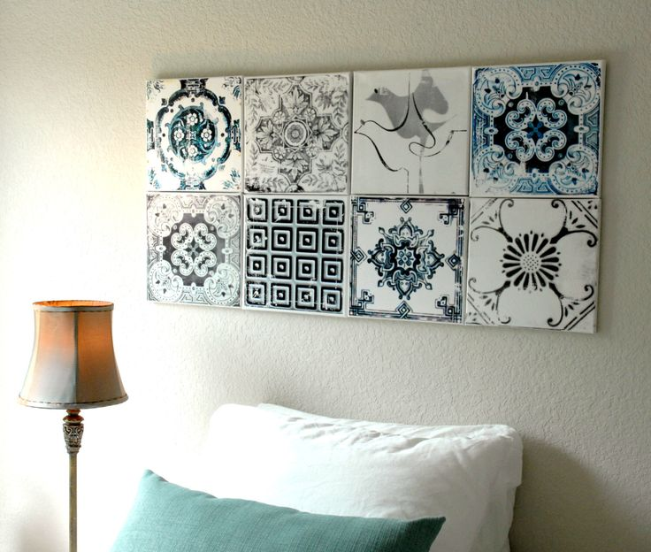 Portugal Antique Azulejo Tile Replica Canvases - Wall Art- Set of 8 Blue / Gray Lisbon, Ovar, Coimbra, Aveiro and Figueira - distressed by Atrio on Etsy https://www.etsy.com/listing/203489980/portugal-antique-azulejo-tile-replica