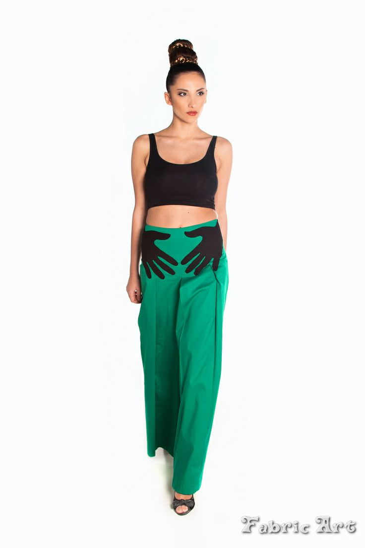 "Wide leg trousers with pleats and handmade applique ""Hands"""