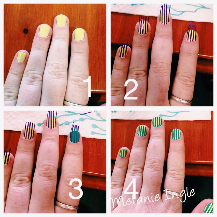 Some stripe nails I did yellow and green. My nails are short.