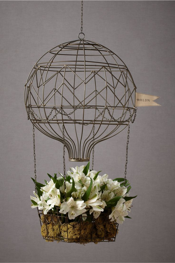 Great Planter Idea- Hovering Hot Air Balloon in Décor Decorating at BHLDNDecor, Balloons Plants, Balloons Planters, Balloons Flower, Hot Air Balloons, Hover Hot, Planters Ideas, Hanging Baskets, Wire Hot