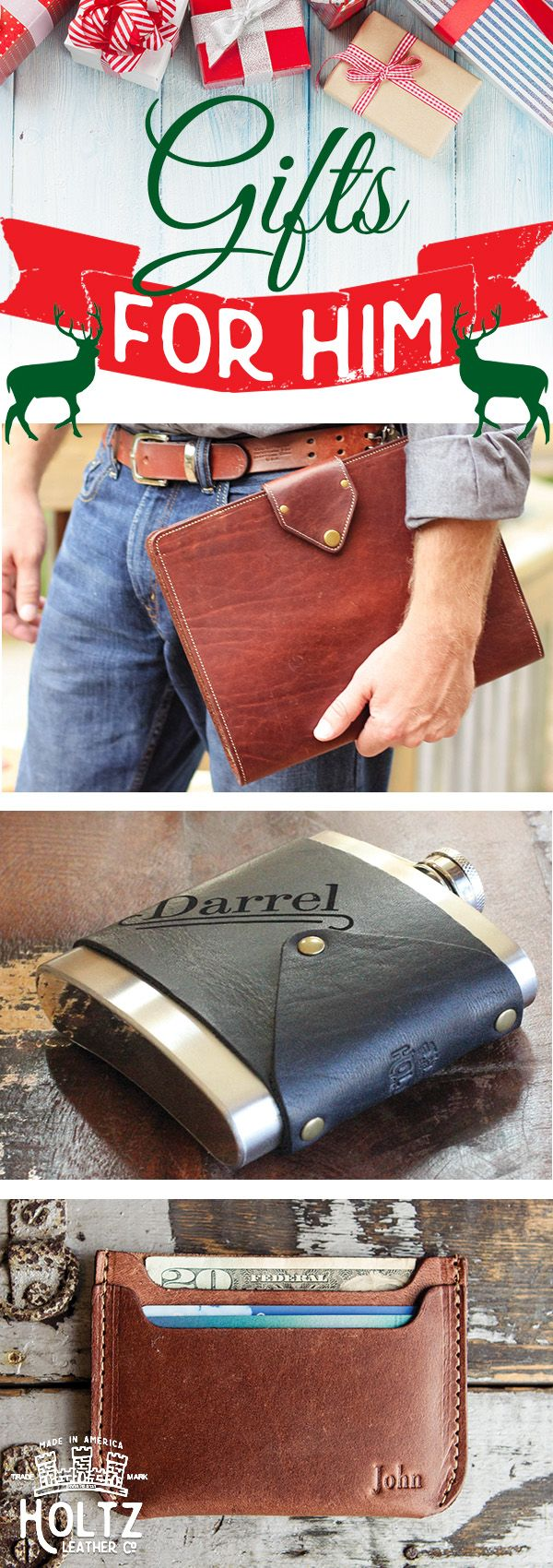 """These handmade leather gifts are sure to bring a smile to any man's face on Christmas morning! Check out these """"Gifts for Him"""" from Holtz Leather."""