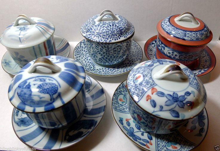 Vintage Asian Teacup Lid Saucer set (5) Original Box