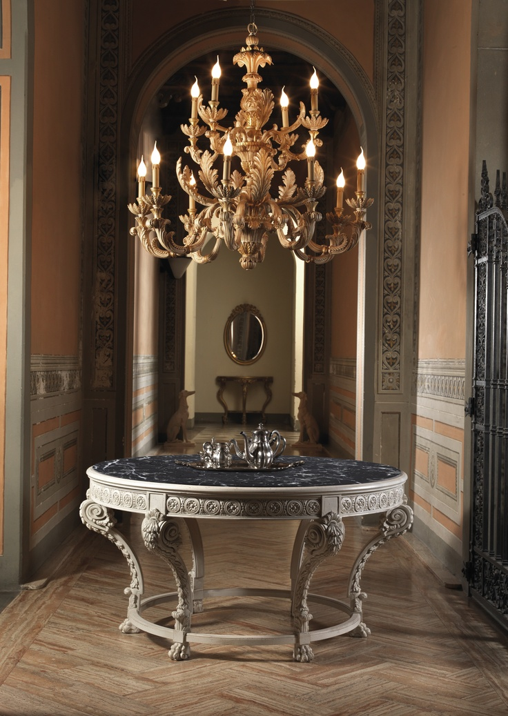 Welcome Table Louis XVI Style with black marble top - Provence  ChandelierXVIII C. 12 Lights - Pickled Pine & Oro