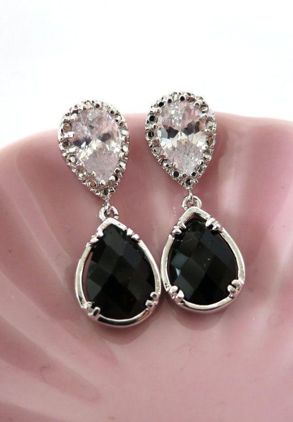 Silver Teardrop Crystal Earrings, gifts for her, Bridesmaid Earrings, Bridal Wedding Jewelry, Cubic Zirconia, Black Glass, www.glitzandlove.com