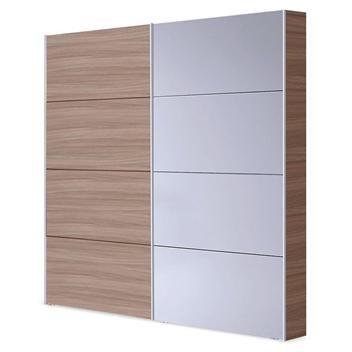 ARMARIO NATURE 279€ con puertas correderas en color nature y blanco brillo. Medidas: 180x200x63 cm.
