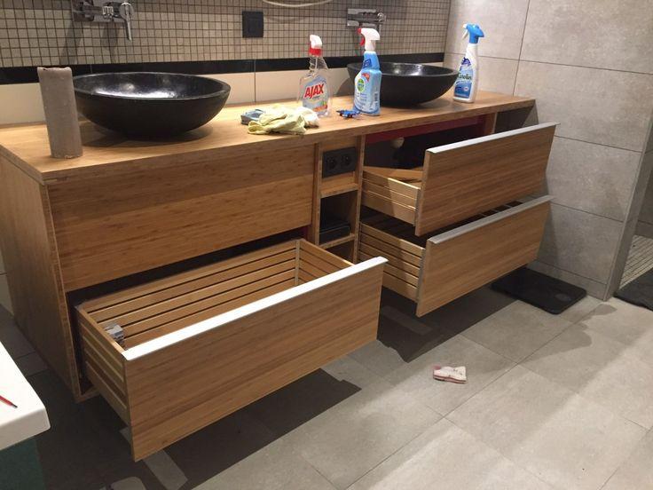 Meuble double de salle de bain GODMORGON en bambou massif