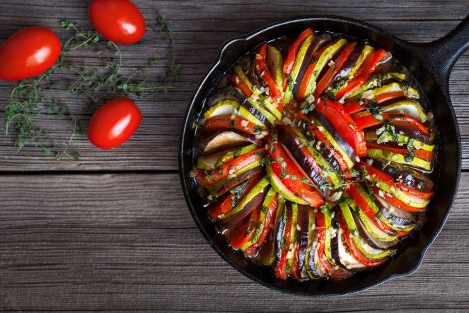 Baked Ratatouille  Entire recipe makes 6 servings Serving size is about 1 cup Each serving = 3 Smart Points/2 Points + PER SERVING: 68 calories; 5g fat; 1g saturated fat;6g carbohydrates; 3g sugar; 2g protein; 2g fiber