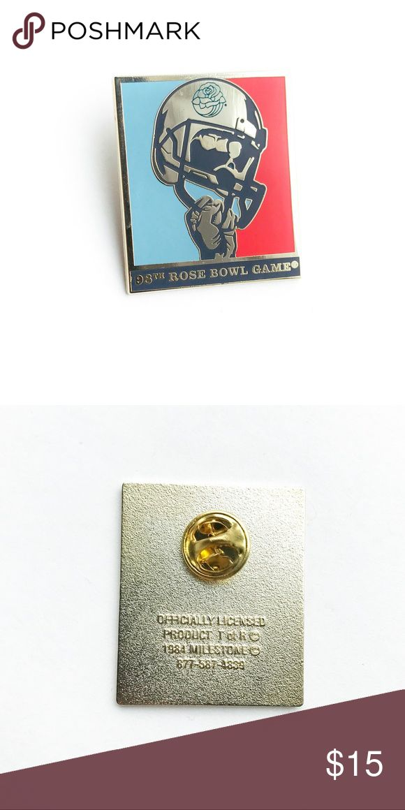 "98th Rose Bowl Game Enamel Pin 98th Rose Bowl Game Enamel Pin  • from 2012 Rose Bowl Game  • 1  1/2"" x 1  1/4"" • colors: gold, red, blue  • tags: college football, helmet, USA, American, Oregon Ducks, Pac-12 Conference, Wisconsin Badgers, university of, collectible, memorabilia, hat, lapel, vest, brooch, jacket • all of the pins I sell are vintage and may contain minor nicks, imperfections, or oxidation Vintage Accessories"