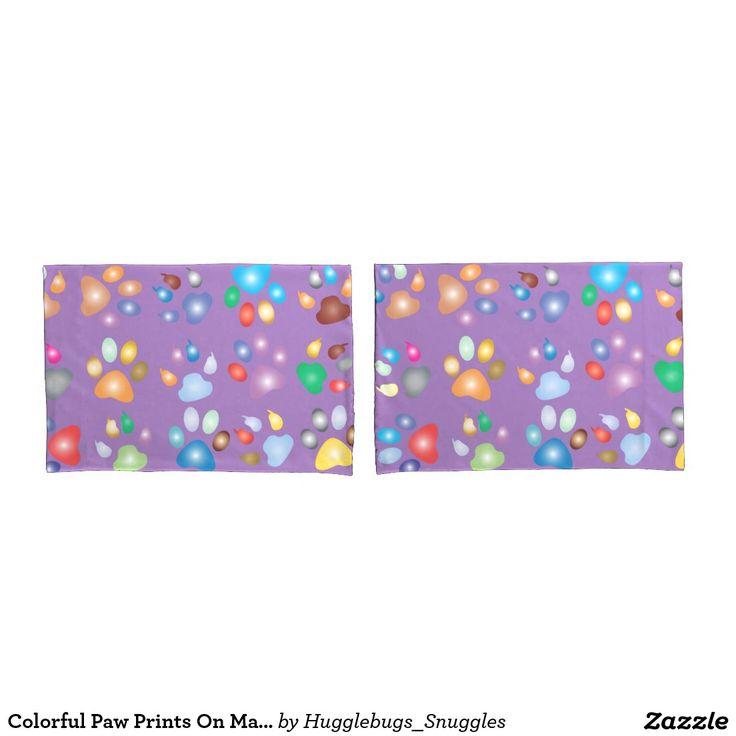 Colorful Paw Prints On Mauve