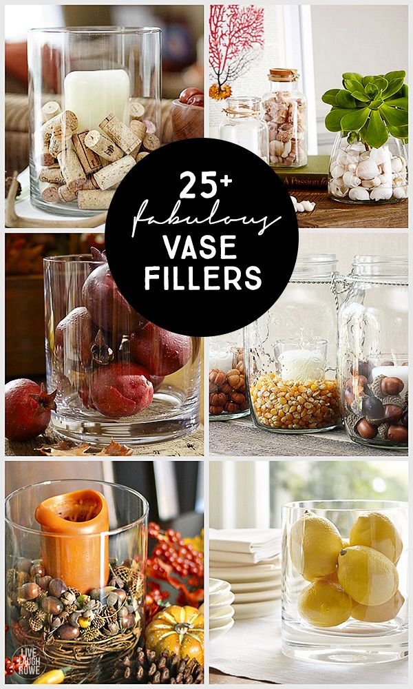 Oh the possibilities! 25+ Vase Filler Ideas to add some fun to your glass jars or vases.  www.livelaughrowe.com