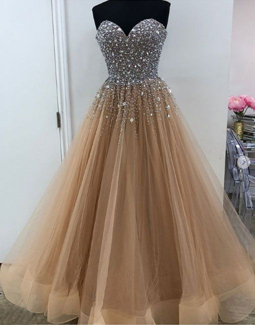 champagne long prom dress, evening dress, formal dress