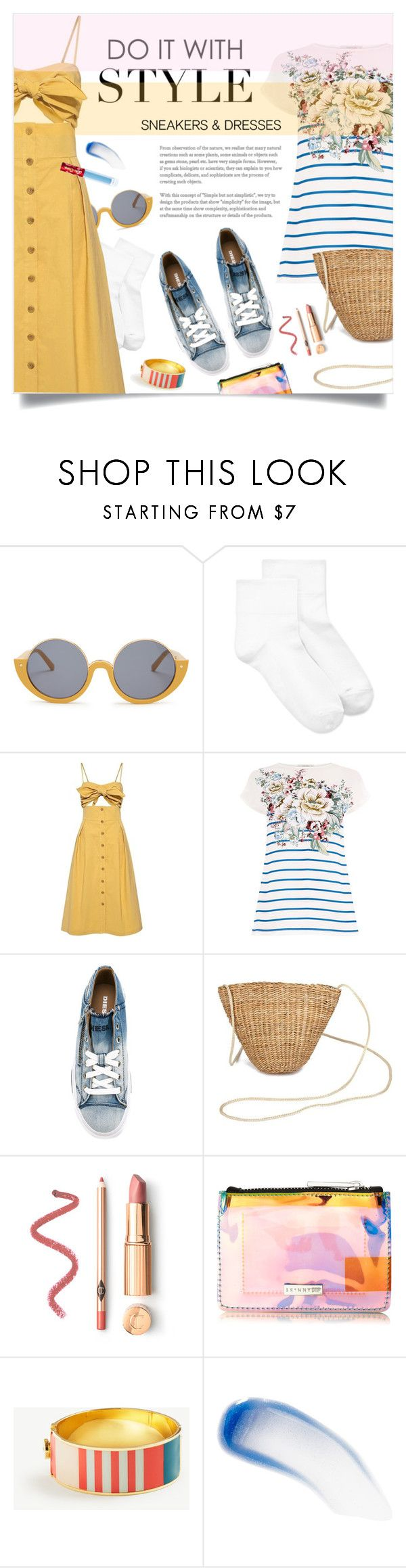 """Cutout dress and denim sneaker"" by laste-co ❤ liked on Polyvore featuring Marni, Hue, Sea, New York, Diesel, Ann Taylor, Lipstick Queen and Lime Crime"