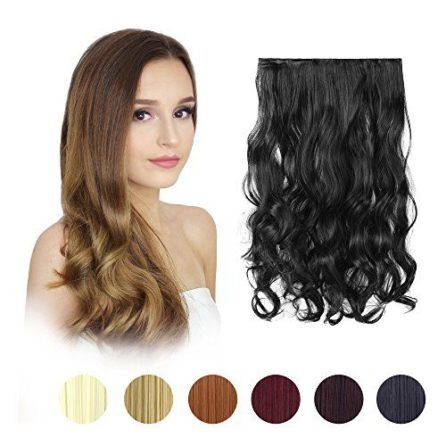 "FESHFEN 20"" One Piece 3/4 Full Head Clip in Hair Extensions Long Curly Wave Synthetic Hair Extensions 5 Clips Hairpieces for Women 130g(1B Off Black)  Hair Color: Off Black, Hair Weight: 4.6oz, Length 20"", Width10.5""  Materials: A class Japan heat resistant fiber which can be permed straighten, curled by iron 300 Fahrenheit, washed restyled or shorn.  Easy To Wash: Just need a little mild shampoo and hair conditioner then washing in lukewarm water, then let them naturally dry.  Perfect..."
