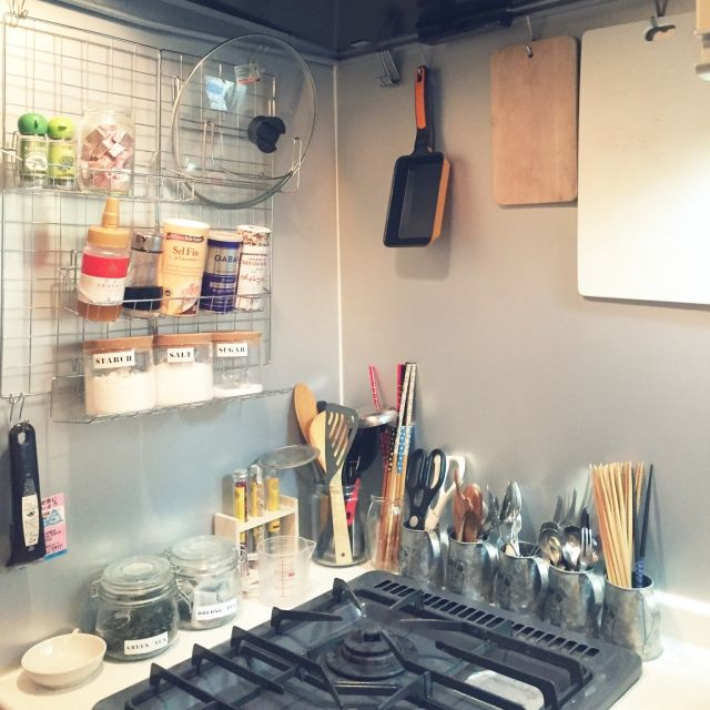 キッチン 100均 Diy ダイソー フェイクグリーン などのインテリア実例 2016 01 23 21 41 31 Roomclip ルームクリップ インテリア 日本のインテリアデザイン インテリア 収納