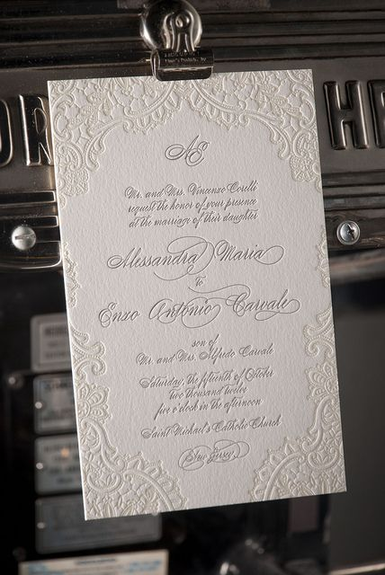Vintage lace letterpress wedding invitation - diy - glue lace to invite and paint over lace and card.