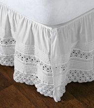 """heirloom"" crocheted bed skirt  Idea: use old doilies or runners for bedskirt!"