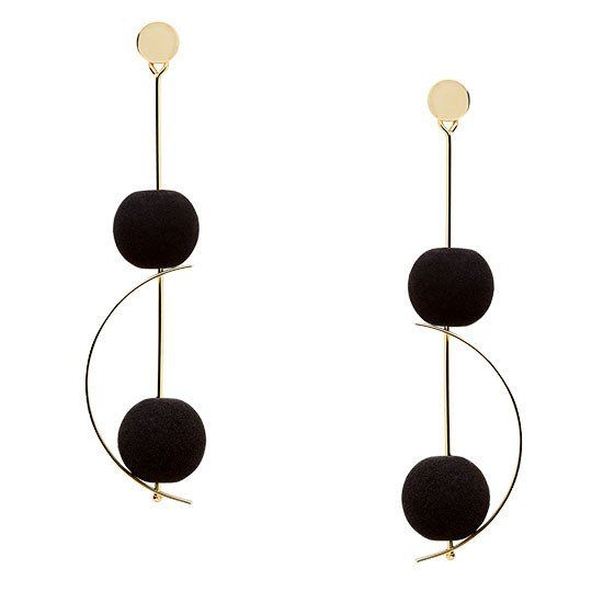 The stunning bon-bons of volcanic lava set against the contemporary, gold architectural design will help you turn heads for all the right reasons.  CAPRI (2): Stunning Gold Drop Earrings with Black Lava Gemstone Bon-Bo