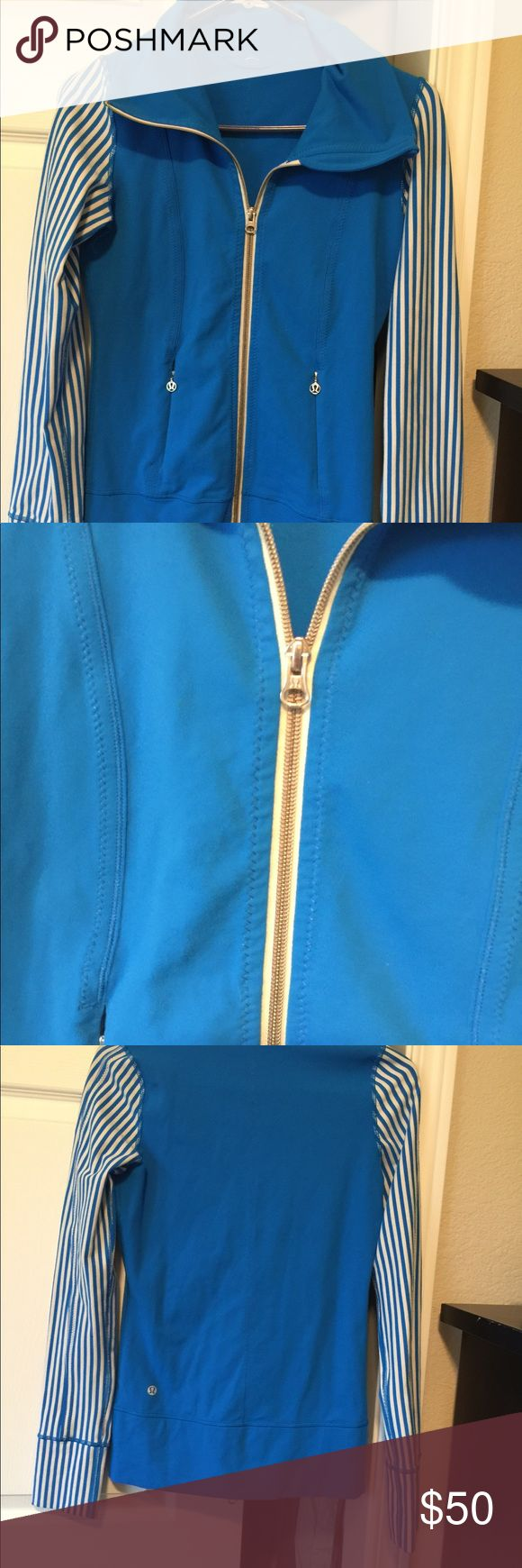 Lululemon Jacket Top Zip Front 2 Lovely authentic Lululemon blue zip up Excellent clean condition  Like new Size 2 lululemon athletica Jackets & Coats