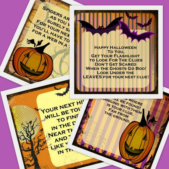 PRINTABLE Halloween Scavenger Hunt- 11 riddles and instructions for YoUNGER…