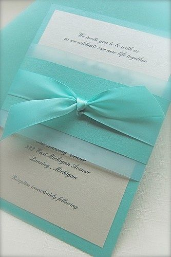aqua and white invitation, tiffany and co theme