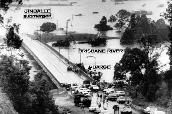 A photo taken January 28, 1974 shows the Brisbane suburb of Jindalee submerged by floodwaters.