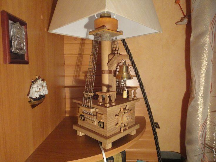 Купить Настольная лампа капитан Дрейк - коричневый, пиратская тема, пиратский корабль, Дуб, бук