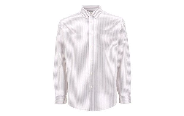 """Striped Button Shirt. """"Simple stripes against a white background make this button-up shirt an easy-to-wear option."""""""