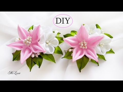 DIY/MK/Tutorial/Kanzashi flower white&rose - YouTube