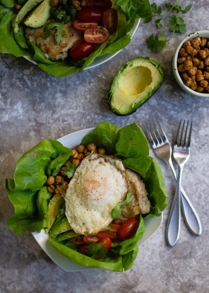 Easy Chicken Burger Lettuce Bowls with Roasted Chickpeas | Boys Ahoy