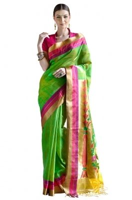 Self and Zari woven Kora Banarasi Saree-D0502001 Remain true to the spirit of India in this Green dupion kora banarsi saree with self weave. The saree features  self woven body with multicolored resham and zari woven palla and border
