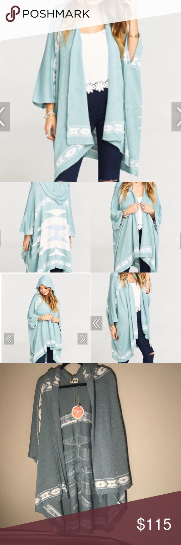 """NWT Show Me Your Mumu Cardi Hoodie Sequoia M ❤️ ✨currently listed at $158 elsewhere✨ This is legitimately the cutest sweater I've EVER bought, and I'm a SWEATER ADDICT.  NWT size M Cardi hoodie in Sequoia from Show Me Your Mumu.  Great for winter and cozy hot chocolate Hallmark movie sessions!   100% polyester. Hooded long sweater. 35"""" long at mid back. ♥️ Show Me Your MuMu Sweaters Cardigans"""