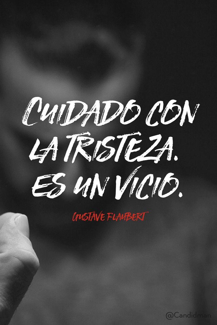 """""""Cuidado con la #Tristeza. Es un #Vicio"""". #GustaveFlaubert #FrasesCelebres @candidman"""