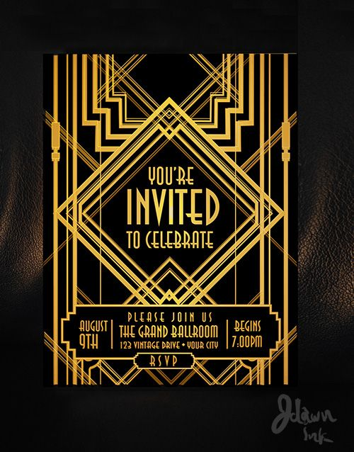 Art Deco Gatsby style party template design available on ...