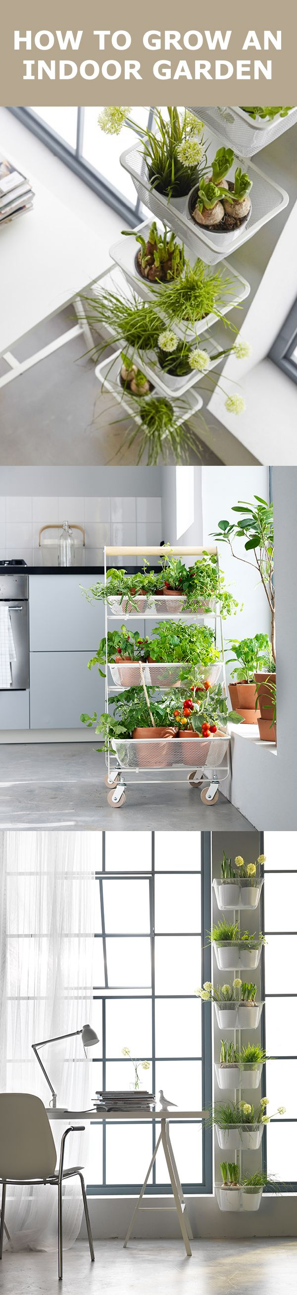 Want to bring the outdoors, indoors? Adding touches of greenery and flowers into your home can boost well-being and make your home feel fresh and cozy. Walls feeling bare? Create a wall garden using hanging plants. The RISATORP utility cart can hold a ton of plants, plus it's mobile so you can bring it inside or out. Potted plants and herbs can also add life to kitchen window sills.