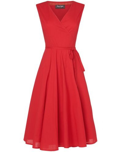 A lightweight cotton wrap dress with a flattering waist tie and a full skirt for a beautiful feminine silhouette.