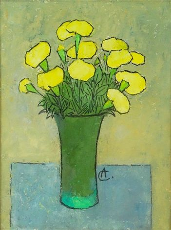Vase with Yellow Carnations by Alexandru Ciucurencu