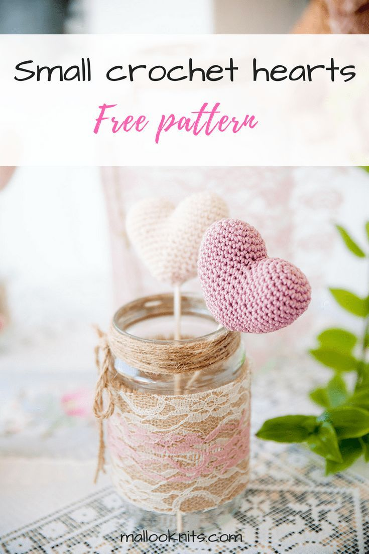 Crochet small hearts free pattern   wedding decoration