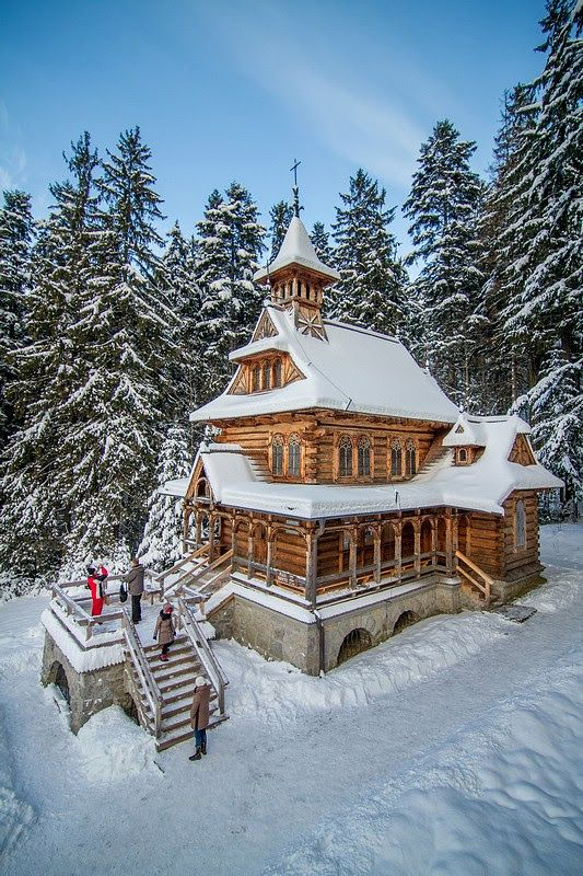 Buildings Zakopane winter, Poland Instead of snow we had a torrential rain, it was till beautiful.: