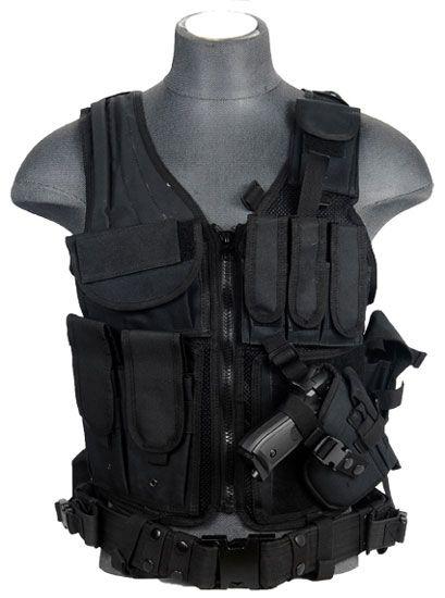 Lancer Tactical Black CA-310B Cross Draw Airsoft Vest
