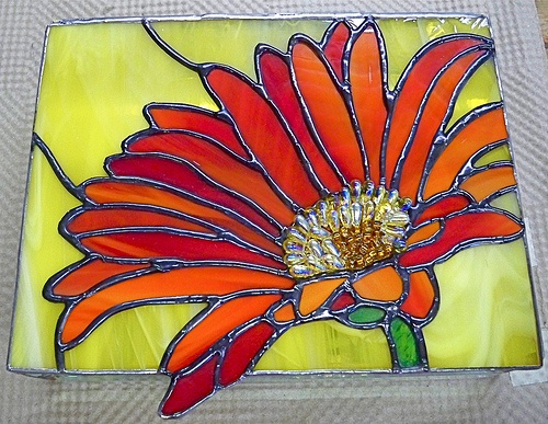 Gerber Daisy Stained Glass For Bathroom Window New House